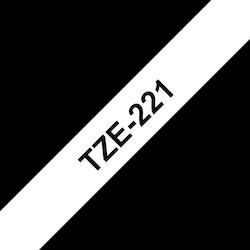 Brother TZe221 original etikettape, svart på vit, 9 mm