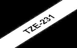 Brother TZe231 original etikettape, Svart på vit, 12 mm