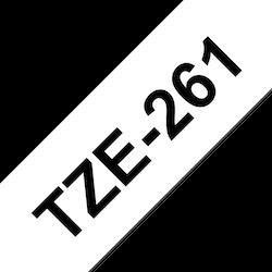 Brother TZe261 original etikettape, svart på vit, 36 mm