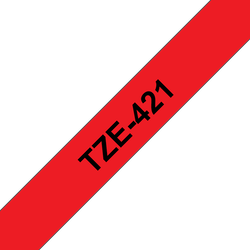 Brother TZe421 original etikettape, svart på röd, 9 mm