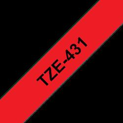 Brother TZe431 original etikettape, svart på röd, 12 mm