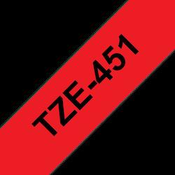 Brother TZe451 original etikettape, svart på röd, 24 mm