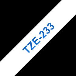 Brother TZe233 original etikettape, blå på vit, 12 mm