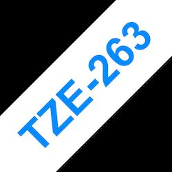 Brother TZe263 original etikettape blå på vit, 36 mm