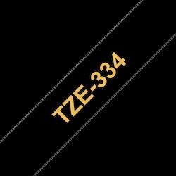 Brother TZe334 original etikettape, guld på svart, 12 mm