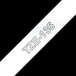 Brother TZe135 original etikettape, vit på genomskinlig, 12 mm