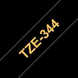 Brother TZe344 original etikettape, guld på svart, 18 mm