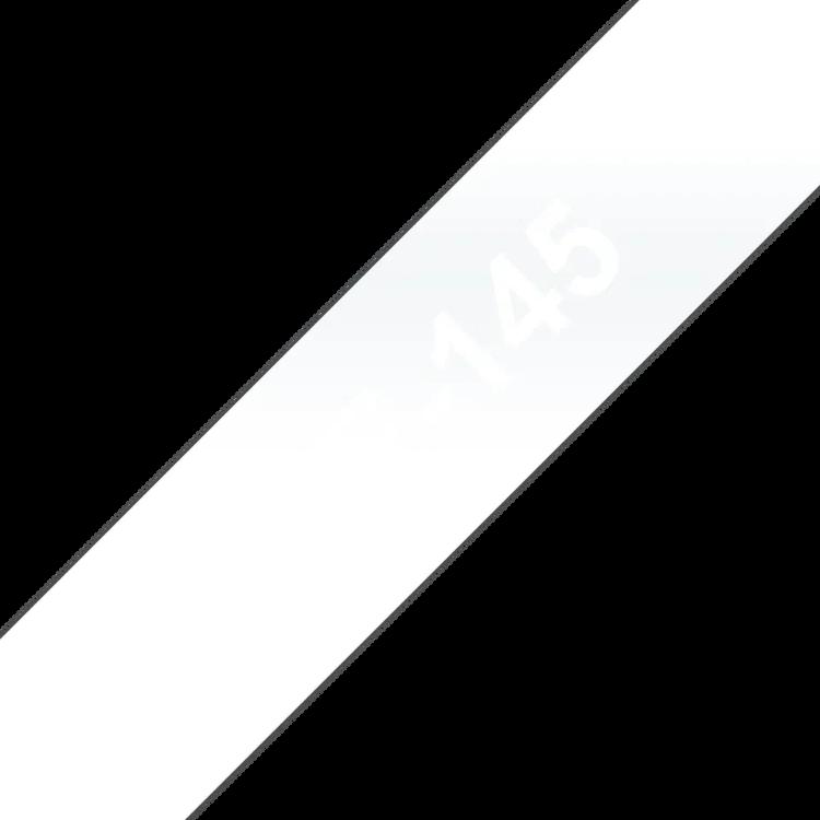 Brother TZe145 original etikettape, vit på genomskinlig, 18 mm