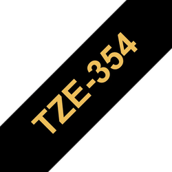 Brother TZe354 original etikettape, guld på svart, 24 mm
