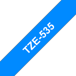 Brother TZe535 original etikettape, vit på blå, 12 mm