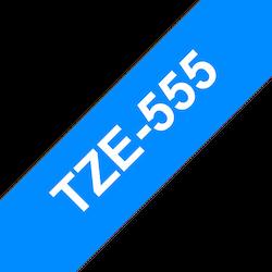 Brother TZe555 original etikettape, vit på blå, 24 mm