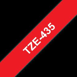 Brother TZe435 original etikettape, vit på röd, 12 mm