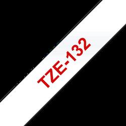 Brother TZe132 original etikettape, röd på genomskinlig, 12 mm