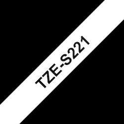 Brother TZeS221 original etikettape, svart på vit, 9 mm
