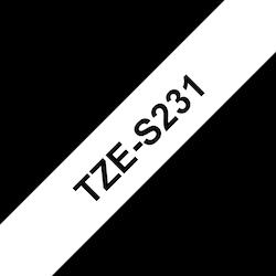 Brother TZeS231 original etikettape, svart på vit, 12 mm