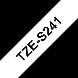 Brother TZeS241 original etikettape, svart på vit, 18 mm
