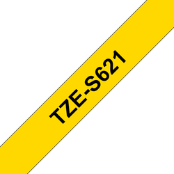 Brother TZeS621 original etikettape, svart på gul, 9 mm