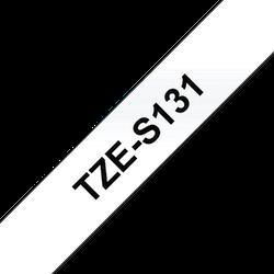 Brother TZeS131 original etikettape, svart på genomskinlig, 12 mm