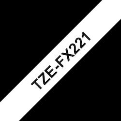 Brother TZeFX221 original etikettape, svart på vit, 9 mm