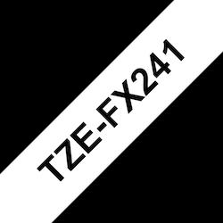 Brother TZeFX241 original etikettape, svart på vit, 18 mm