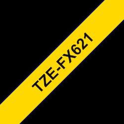 Brother TZeFX621 original etikettape, svart på gul, 9 mm