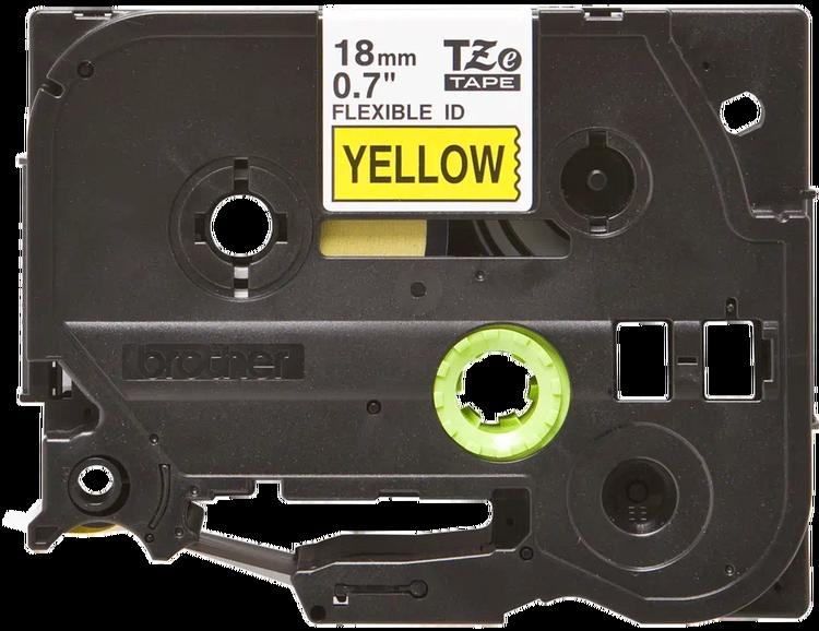Brother TZeFX641 original etikettape, svart på gul, 18 mm