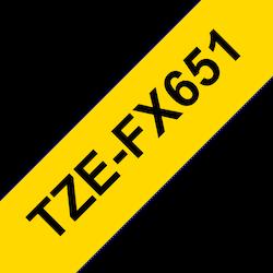 Brother TZeFX651 original etikettape, Svart på gul, 24 mm