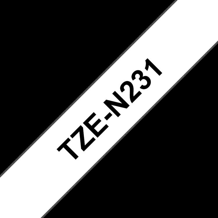 Brother TZeN231 original etikettape, svart på vit, 12 mm