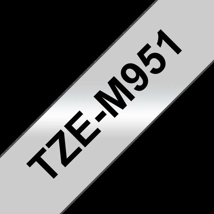 Brother TZeM951 original etikettape, svart på silvermetallic, 24 mm
