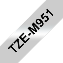 Brother TZeM951 original etikettape, svart på silvermetallic, 24 mm
