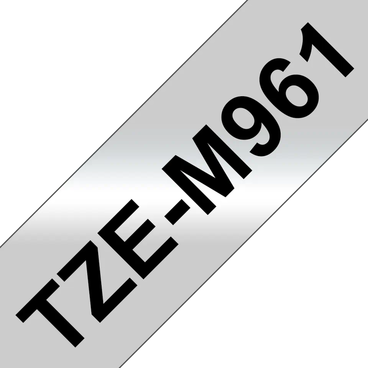Brother TZeM961 original etikettape, svart på silvermetallic, 36 mm