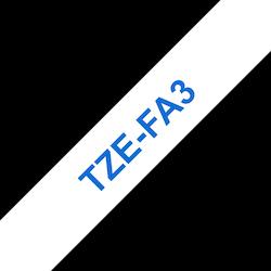 Brother TZeFA3 tygtape, blå på vit, 12 mm