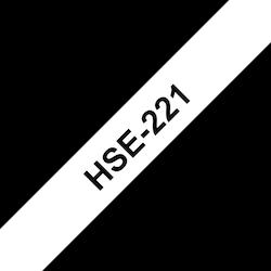 Brother HSE221 original krympslang, svart på vit, 8,8 mm