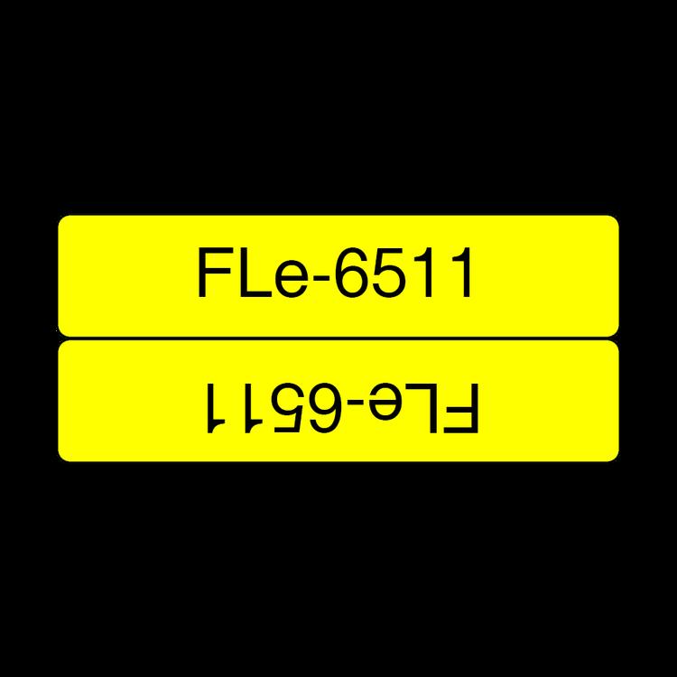 Brother FLE6511 orginal etikettape, svart på gul, 45x21 mm