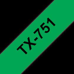 Brother TX751 original etikettape, svart på grön, 24 mm