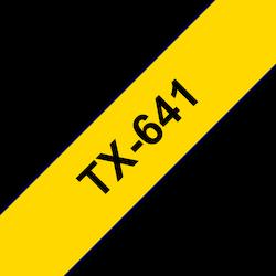 Brother TX641 original etikettape, svart på gul, 18 mm