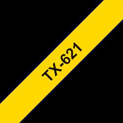 Brother TX621 original etikettape, svart på gul, 9 mm