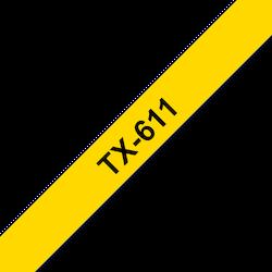 Brother TX-611 original etikettape, svart på gul, 6 mm