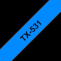 Brother TX-531 orginal etikettape, Svart på blå, 12 mm