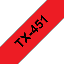Brother TX451 original etikettape, svart på röd, 24 mm