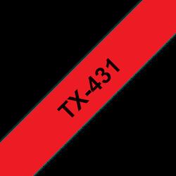 Brother TX431 original etikettape, svart på röd, 12 mm