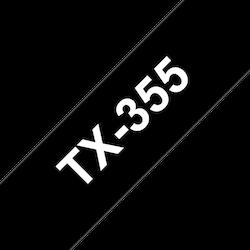 Brother TX355 original etikettape, vit på svart, 24 mm