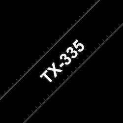 Brother TX335 original etikettape, vit på svart, 9 mm