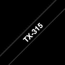 Brother TX315 original etikettape, vit på svart, 6 mm