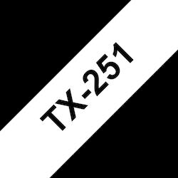 Brother TX-251 orginal etikettape, svart på vit, 24 mm