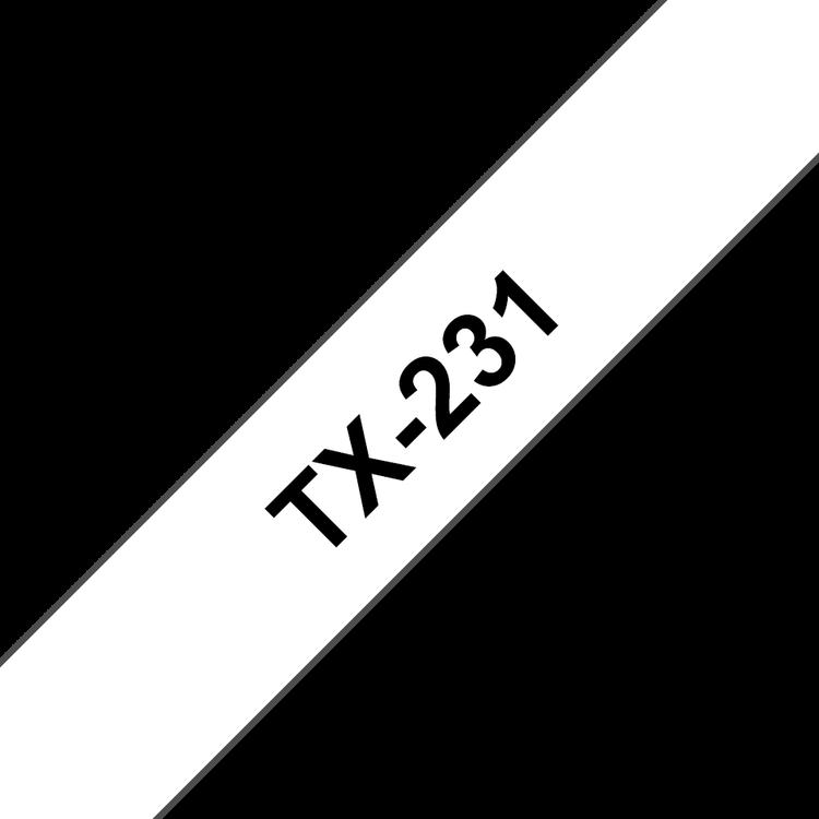 Brother TX231 original etikettape, svart på vit, 12 mm