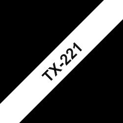 Brother TX221 original etikettape, svart på vit, 9 mm