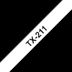 Brother TX211 original etikettape, svart på vit, 6 mm bred