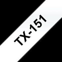 Brother TX151 original etikettape, svart på genomskinlig, 24 mm