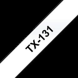 Brother TX131 orginal etikettape, svart på genomskinlig, 12 mm